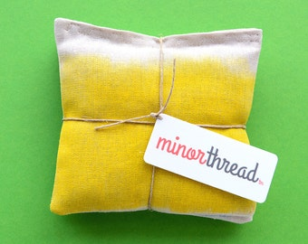 Organic Lavender Sachet Set in Hand Painted Linen - Yellow and Blue Set of 2 Natural Home Wedding Favors