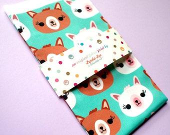 Alpaca Print, Alpaca Fabric, FAT QUARTERS, quilting fabric, Turquoise Fabric, Green, Llama Print, Llama Fabric, Animal Print - ALPACA Heads