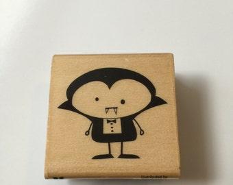Vampire Halloween wooden rubber stamp