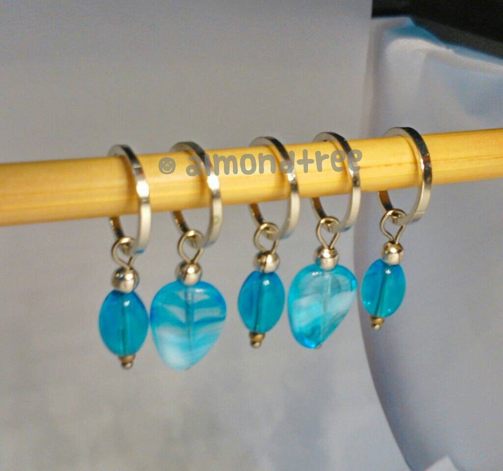 Knitting Supplies Singapore : Ocean blue stitch markers knitting accessories tool snagless