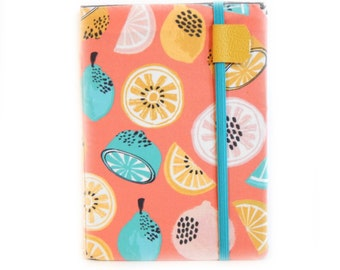 Kindle Paperwhite cover, Fresh Citrus, lemon print case for Kindle Touch, Keyboard, Voyage, Kobo Glo HD eReaders, coral turquoise hardcover