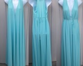Vintage 60s Aqua Rare OLGA Nightgown with Waterfall Back and Sweeping Hem / Nylon Tricot Maxi Long Night Gown // Sz XL 22 24