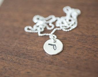 Tiny Florida Necklace Silver Florida Necklace State Charm State Necklace FL Small State Charm Florida Charm Florida Necklace