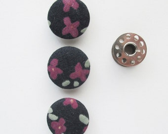 Double Gauze Fabric Covered Buttons 1 Inch | 3 Floral Fabric Shank Buttons 25mm