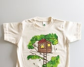 Treehouse Shirt, size T8, hand painted kids tee, tree house t-shirt, unique kids gift