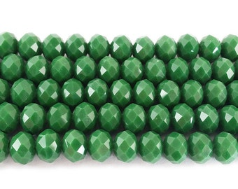 Apple Green Glass Faceted Rondelle Beads