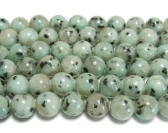 Kiwi Stone Jasper Round Gemstone Beads
