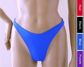 80s High Leg Brazilian Bikini Bottom in Black, Royal Blue, Red, and Purple in S.M.L.XL