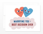 Funny Anniversary Card, Valentine's Day Greeting Card, Marrying You = Best Decision Ever, Card for Husband, for Wife, for Groom, for Bride