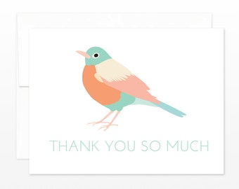 Bird Thank You Card - Cute Pastel Robin - Wedding, Baby Shower, Gift Thanks