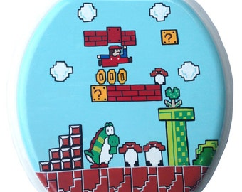Mario Hand Painted Toilet Seat Nintendo 8 Bit Geekery Video Game Arcade Dad Grad Gift