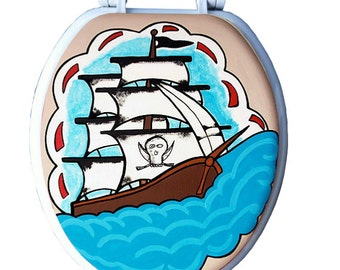 Aye Captain Pirate Ship Tattoo Hand Painted Toilet Seat Bathroom Remodel Decor Wall Art