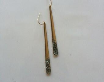 Pyrite Dipped Earrings // Minimalist Gold-Dusted Earrings