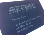 Black metal letterpress business cards (black paper)