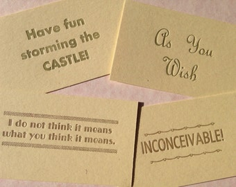 Princess Bride letterpress quote cards
