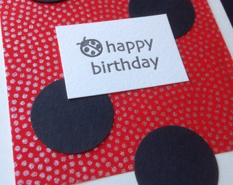 Letterpress ladybug birthday card -gold