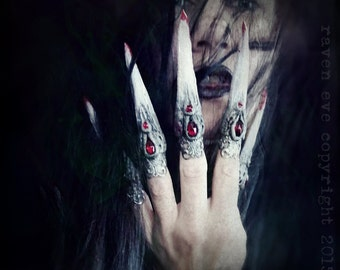Vampyre Claw Rings Sculpted Horror Costume Nail Tips with vintage glass stones 5 Ring set Made To Order Gothic Vampire Style