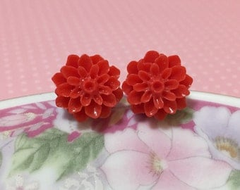 Crimson Red Flower Earrings, Chrysanthemum Flower Studs, Bridesmaid Gift Earrings, Red Mum Studs, Surgical Steel Studs, Christmas Stud (SE5)
