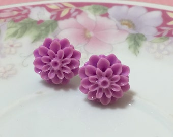 Purple Mum Studs, Violet Purple Chrysanthemum Flower Earrings, Lavender Mum Studs, Violet Mum Studs, Surgical Steel, KreatedByKelly (SE5)