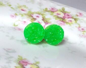 Lime Green Druzy Studs, Lime Green Studs, Green Stud Earrings, Green Drusy Studs, Druzy Jewelry, Surgical Steel Studs, KreatedByKelly