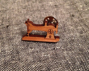 Classic sewing machine lapel tie pin - cherry