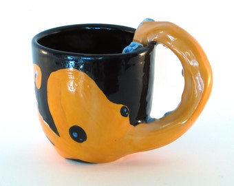 Octopus Mug, cup, cephalopod, arm, tentacle, Orange with blue suckers - Custom colors available