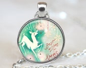 Retro Christmas Pendant, White Deer Art Pendant,  Xmas Necklace, Bronze, Silver, Holiday Vintage Art Jewelry 324