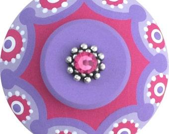 Hot Pink Purple Swarovski Crystal Jeweled Hand Painted Wood Decorative Furniture Nursery Childrens Kids Dresser Colorful Drawer Pull Knob
