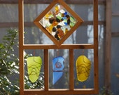 Sun Catcher Sea Glass with Copper Large Frame Colorful, stained glass, beach glass