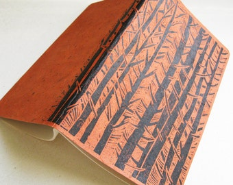 GRAPH PAPER MOLESKINE Book- Forest Trees Design - Japanese Paper Cover - 5x8 Journal