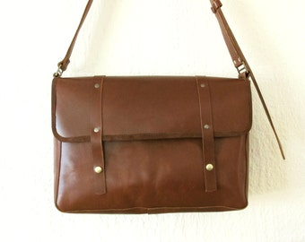 Man Satchel Brown Leather