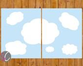 Instant Download Cloud Wall Art Gender Neutral Boy or Girl Blue Sky Decor Nursery Bedroom Printable 8x10 Digital JPG Files (231)