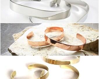 12 cuff bracelets,bracelet base, bracelet blanks, stamping blank, bracelet for wire wrapping,silver, gold, copper or combination, adjustable