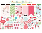 Shabby Chic Planner Sticker Sampler || Hexagons, Banner Flags, and awesomly cute icons || Erin Condren Planner Stickers, Kikki K, Filofax ++