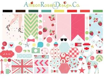 Shabby Chic Planner Sticker Sampler || Hexagons, Banner Flags, and awesomly cute icons || Erin Condren Planner Stickers, Kikki K, Filofax ++