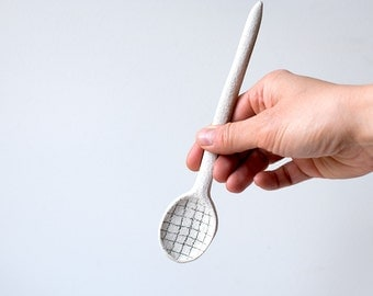 PRE-ORDER - back in stock soon! Big Ceramic Spoon, Dashes Pattern
