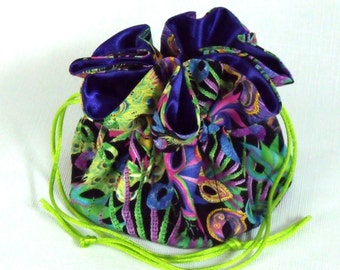 Drawstring Jewlery Bag, Pouch Organizer  Reticule Brother and Sister Festive Eye Masks Medium