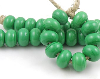 216 Opaque Grass Green Lampwork Beads - Handmade Artisan Lampwork Glass Spacer Beads 5mmx9mm - SRA (Set of 10 Spacer Beads)