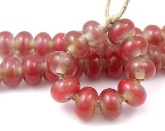 642 Orange African Daisy - Handmade Artisan Lampwork Glass Beads 5mmx9mm - SRA (Set of 10 Spacer Beads)