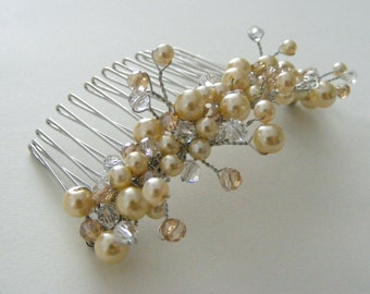 Champagne Pearl and Crystal Hair Comb