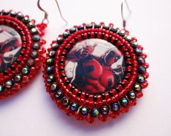 Deadpool Beaded Earrings