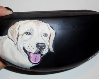 Yellow Labrador Retriever Dog  Hand Painted Eyeglass Case Sunglass Case