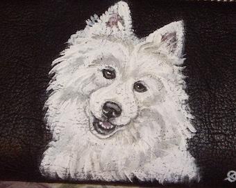 American Eskimo Dog Custom Painted Women's Leather Wallet