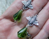 Bees || Green Czech Glass Drops | Nature Lover | Bee Earrings | Dark Green Glass | Earthy | Organic | Woodland Wedding | Earrings Under 20