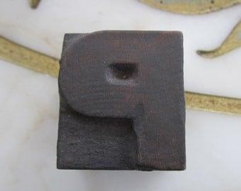 Antique Letterpress Wood Type Printers Block Letter P