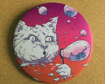 Bubble Blowing Cloud Cat 3.5 Inch Giant Magnet - Sunset, Fridge Magnet, Refrigerator Magnets, Cat Magnet, Kitten Magnet, Cat Artwork