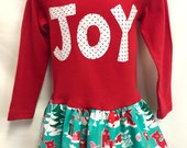 Girls Red Joy Christmas Dress with Matching Flower Clip...