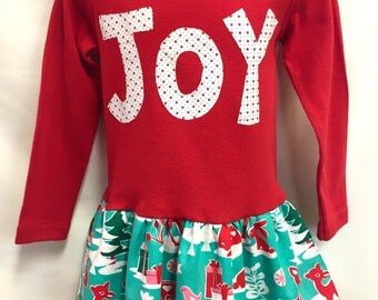 Girls Red Joy Christmas Dress with Matching Flower Clip -Toddler Christmas Outfit- Girls Christmas Dress