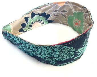 Reversible Fabric Covered Headband - Bright Flowers - Navy and Turquoise Botanical
