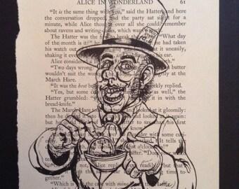 Alice In Wonderland Original Art, Mad Hatter, Illustration, Gift For Him, Reader Gift, Gift For Her
